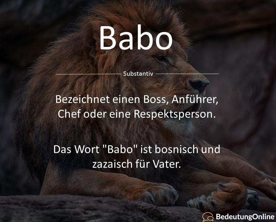 Babo - Bedeutung auf deutsch, Definition