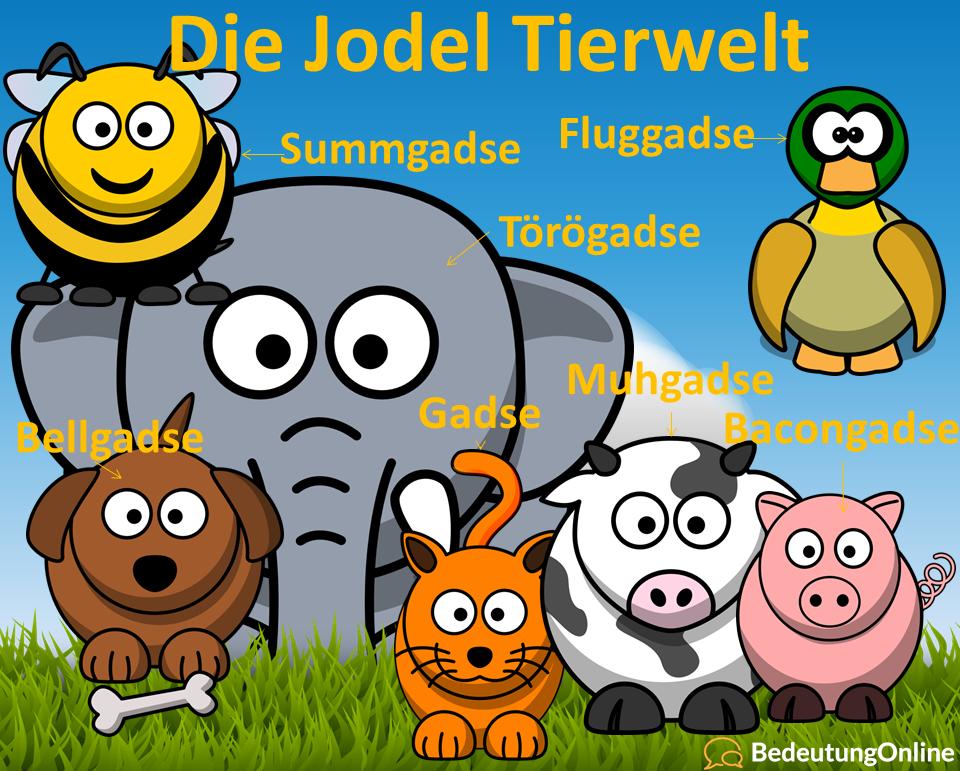 jodel tierwelt - gadse - bellgadse - muhgadse - mähgadse - fluggadse