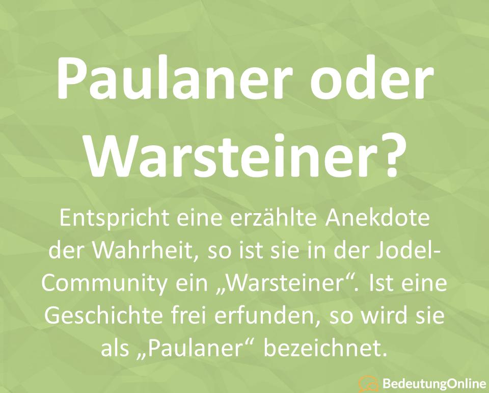 Paulaner oder Warsteiner (Jodel)