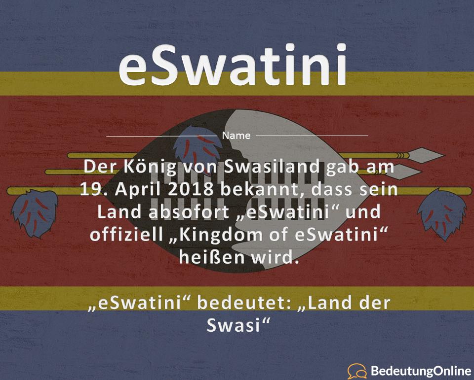 "Was bedeutet ""eSwatini""? Bedeutung, Definition"