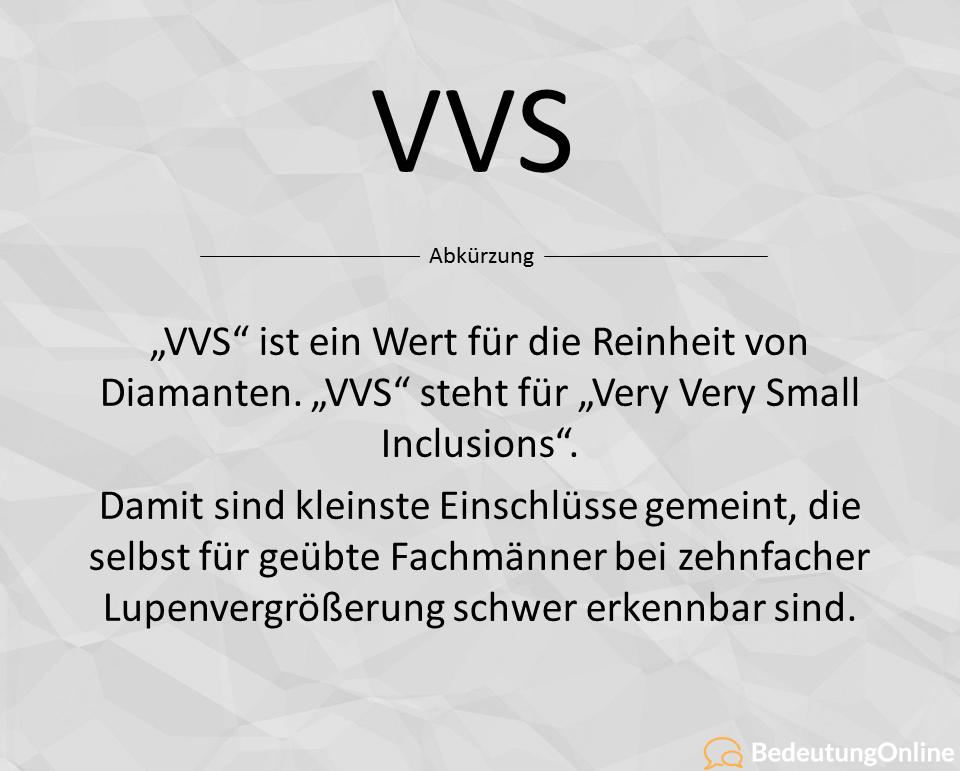 Was bedeutet die Abkürzung VVS? Bedeutung und Definition erklärt