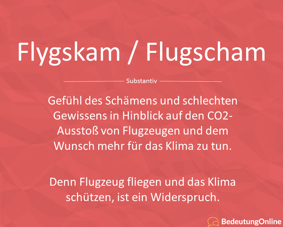 Flygskam Flugscham deutsch bedeutung übersetzung wortherkunft