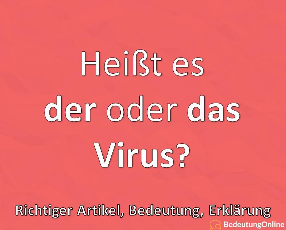 Heißt es der oder das Virus, Richtiger Artikel, Bedeutung, Definition