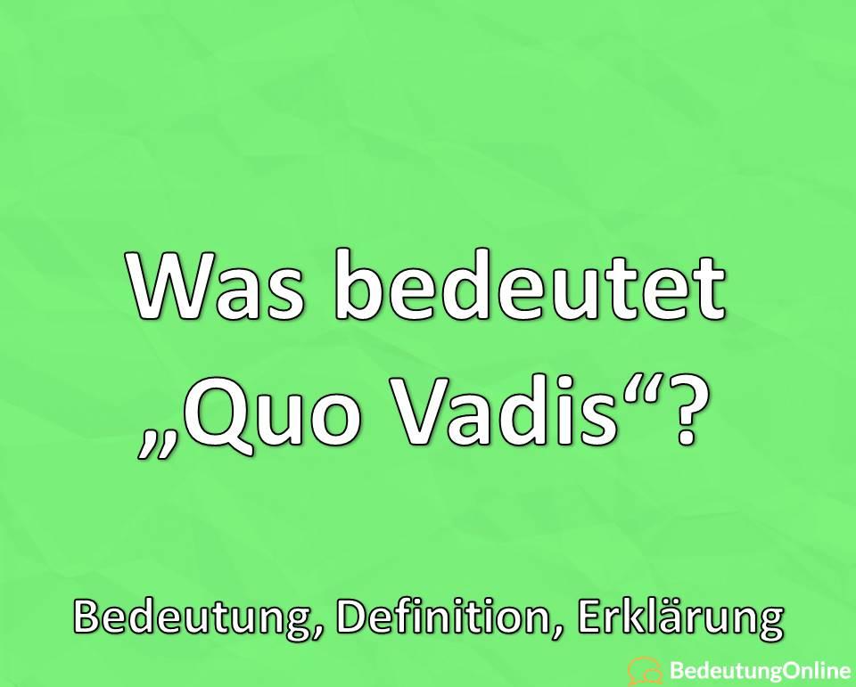 "Was bedeutet ""Quo vadis""? Bedeutung, Definition, Erklärung"