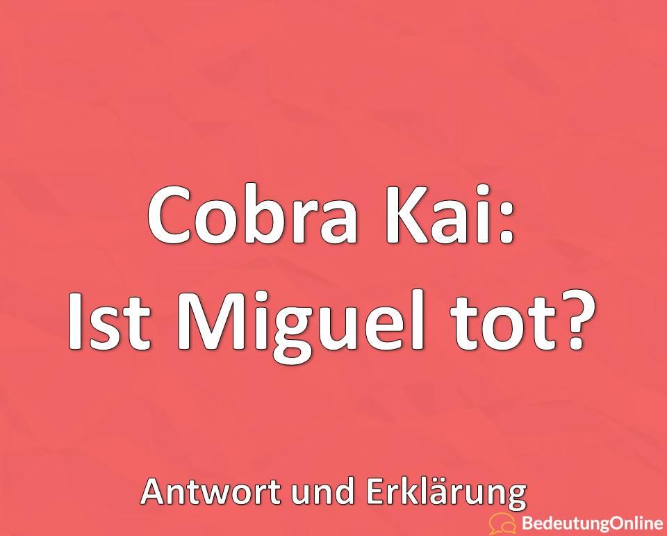 Cobra Kai: Ist Miguel tot / gestorben? Erklärung, Antwort, Spekulation