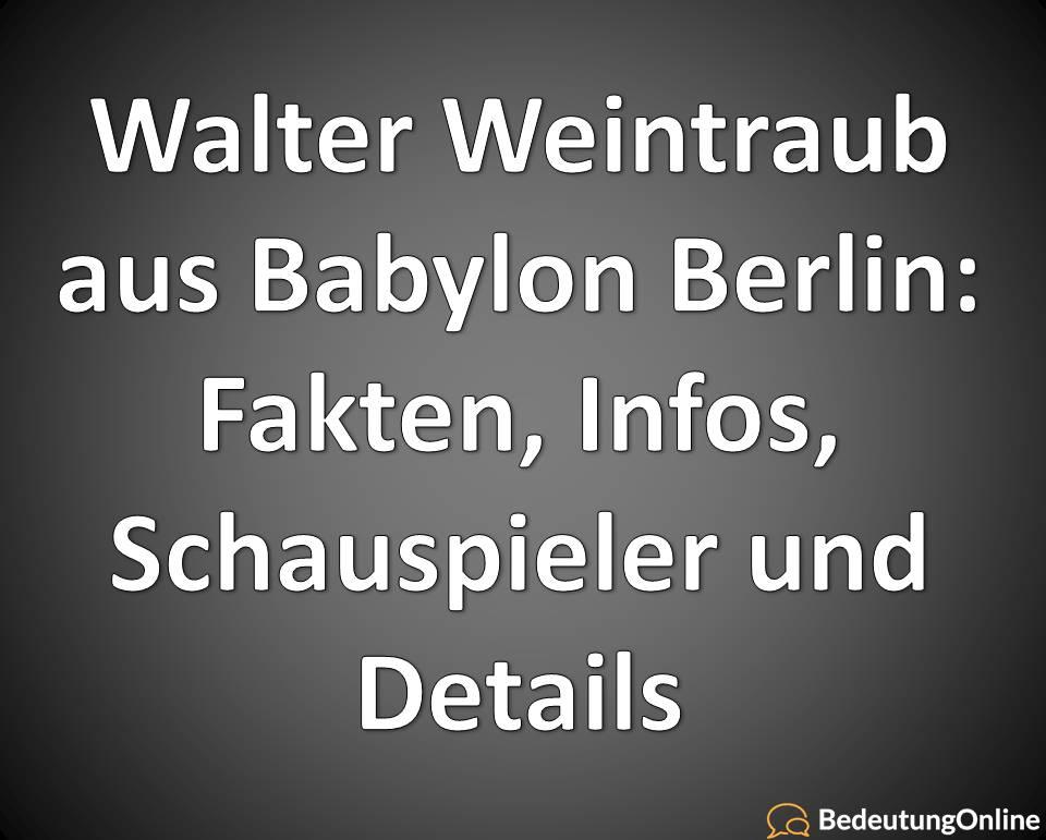 Walter Weintraub aus Babylon Berlin: Fakten, Infos, Schauspieler und Details