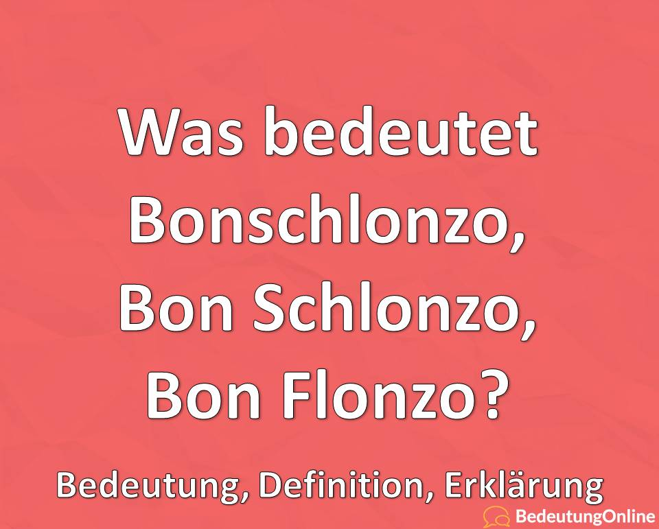 Was bedeutet Bonschlonzo / Bon Schlonzo / Bon Flonzo? Bedeutung, Definition, Erklärung