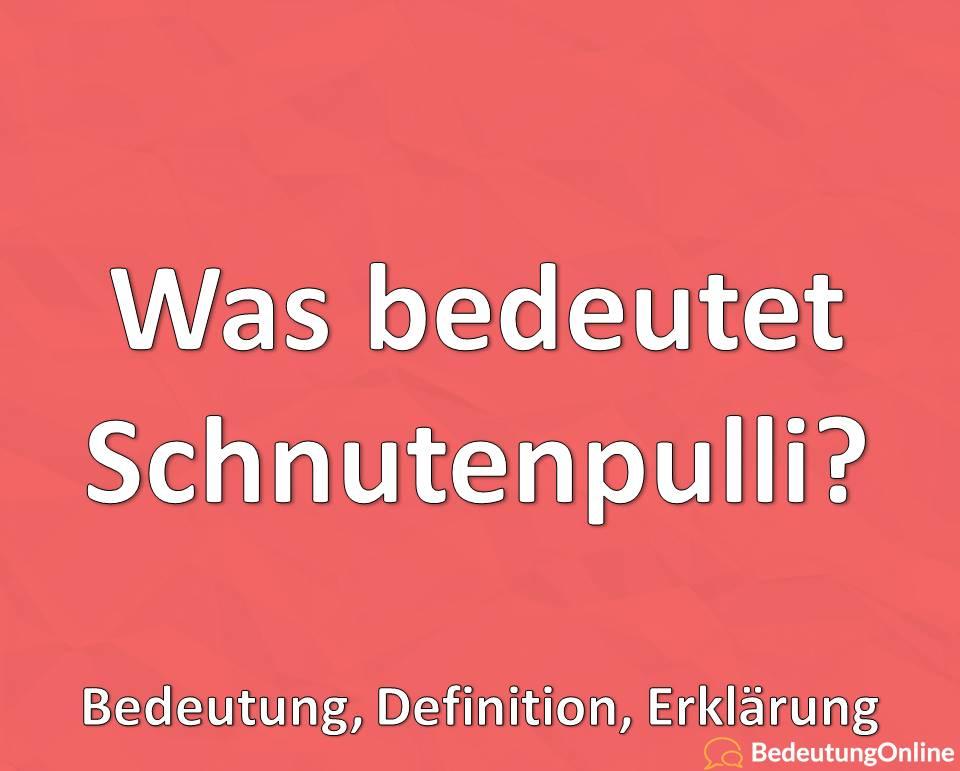 Was bedeutet Schnutenpulli? Plattdeutsches Wort, Bedeutung, Definition, Erklärung
