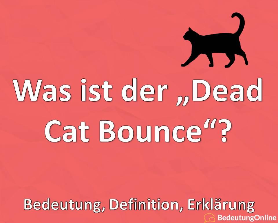 "Was ist der ""Dead Cat Bounce""? Bedeutung, Definition, Erklärung"