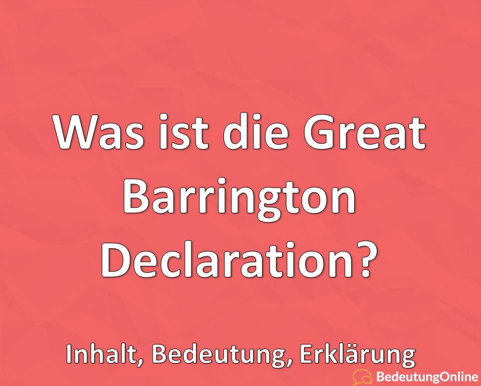 Was ist die Great Barrington Declaration, Inhalt, Bedeutung, Definition, Erklärung