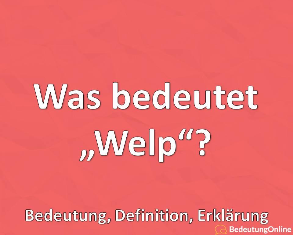 Was bedeutet Welp auf deutsch? Bedeutung, Definition, Erklärung