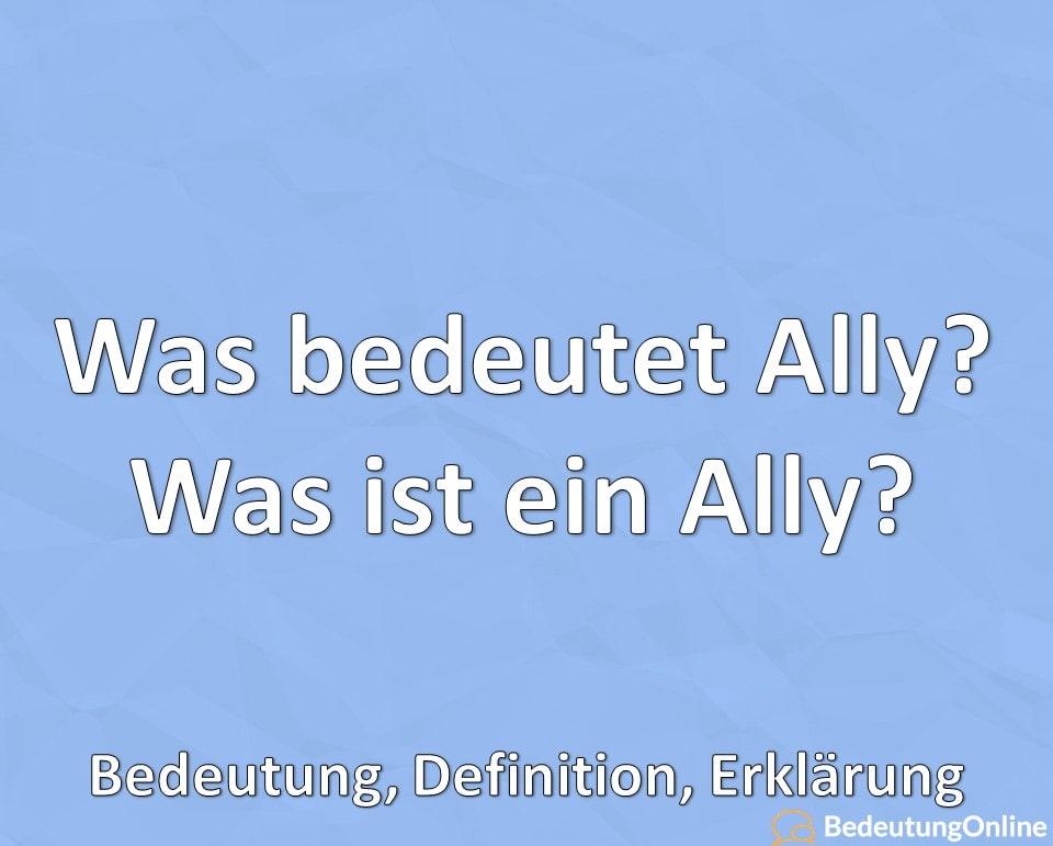 Was bedeutet Ally? Was ist ein Ally? Bedeutung, Definition, Erklärung