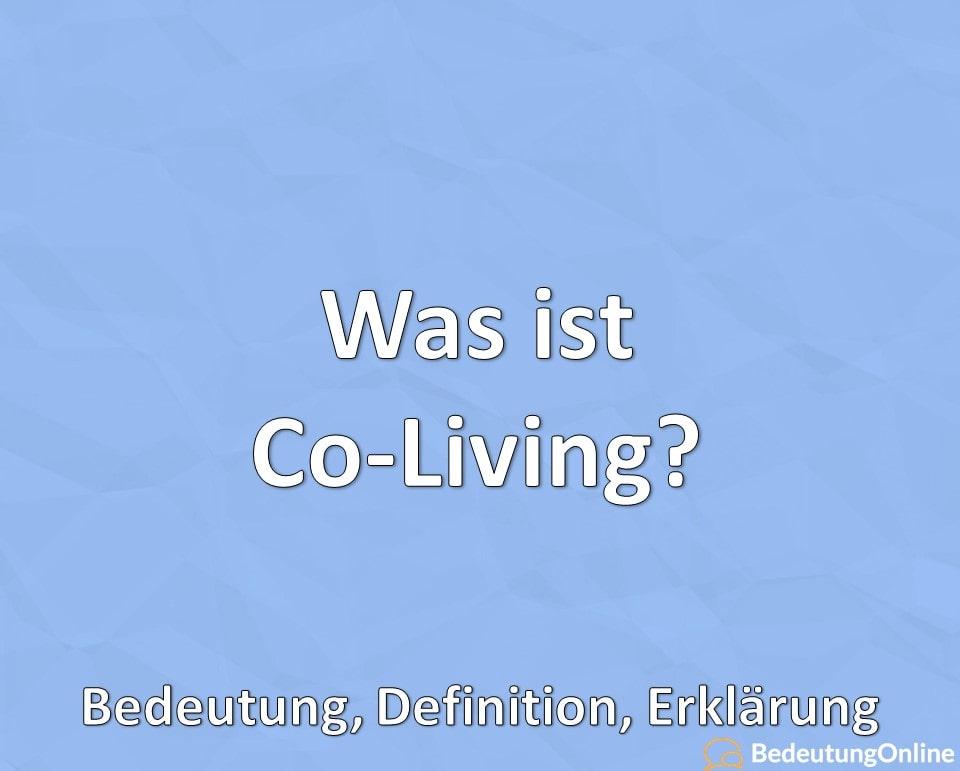 Was ist Co-Living, Bedeutung, Definition, Erklärung