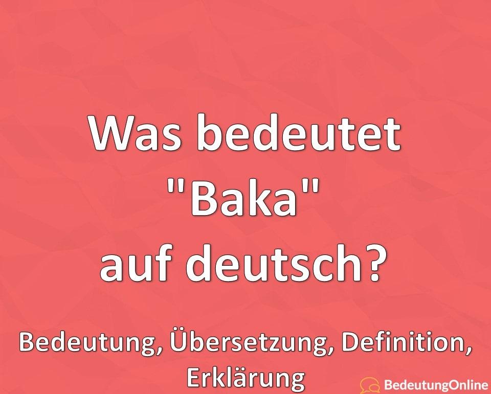 """Was bedeutet """"Baka"""" auf deutsch? Übersetzung auf deutsch, Bedeutung, Erklärung, Definition"""
