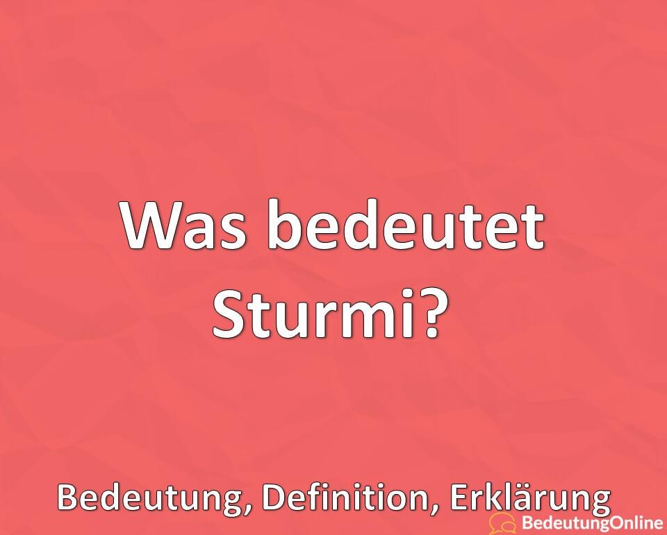 Was bedeutet Sturmi, Bedeutung, Erklärung, Definition