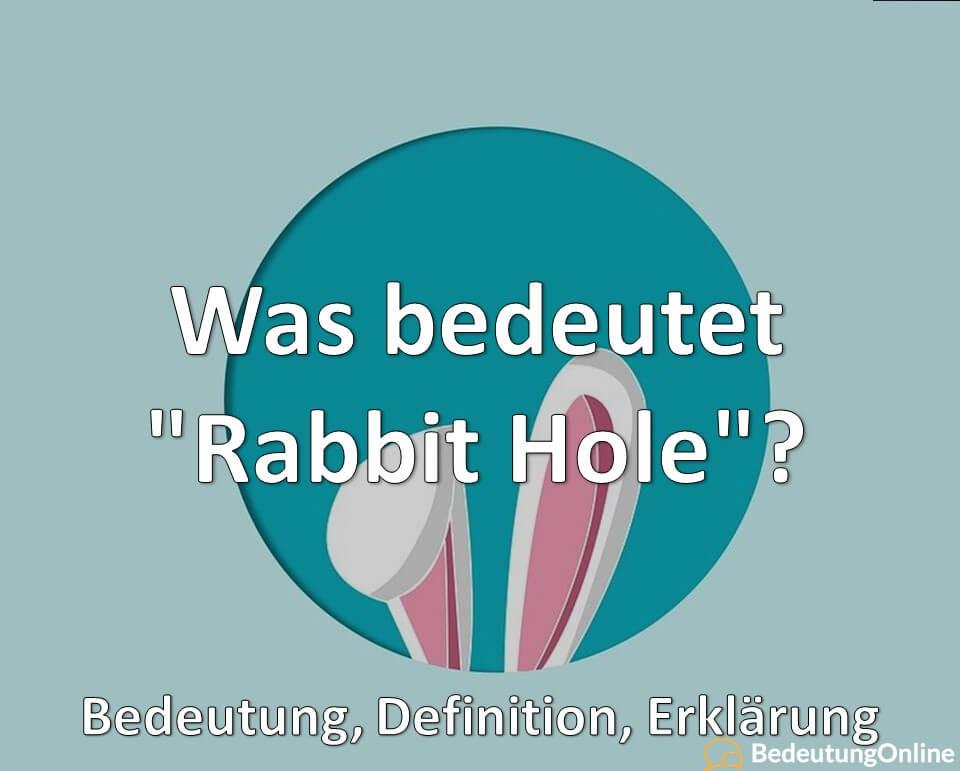 Was bedeutet Rabbit Hole, Bedeutung, Definition, Erklärung