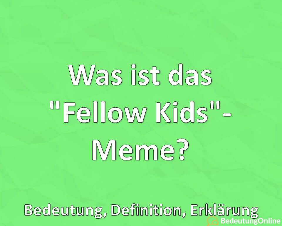 Was ist das, Fellow Kids, Meme, Bedeutung, Definition, Erklärung