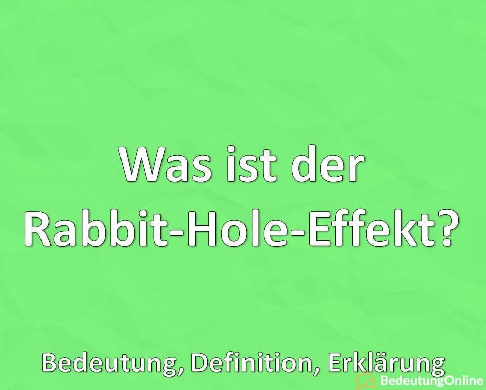 Was ist der Rabbit-Hole-Effekt? Bedeutung, Definition, Erklärung